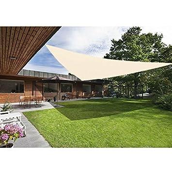 Greenbay Creme Sonnensegel Sonnenschutz Segel Fur Balkon Terrasse Camping Garten Uv Schutz Pes Polyester Dreieck 3 6x3 6x3 6m