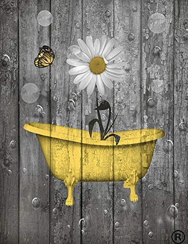 Yellow Gray Rustic Bathroom Wall Art, Daisy Flower, Butterfly Bubbles, littlepiecreations Handmade Original Photo Artwork, 8x10 with 11x14 White Mat, (Fits 11x14 Frame) Color Options Available