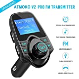 usb fm modulator - Bluetooth FM Transmitter, Atmoko 2018 MP3 Player USB Car Charger Hands-Free Calling Audio Modulator Portable Wireless Radio Aux Car Kit with 3.5mm Audio Device TF Card Slot and U Disk 1.44-inch Screen