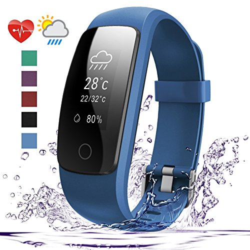 Price comparison product image Fitness Tracker HR, 007plus D107Plus Heart Rate Monitor Fitness Smart Watch Activity Tracker with Sleep Monitor IP67 Waterproof Pedometer Smart Wristband (Blue)