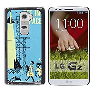 Shell-Star Arte & diseño plástico duro Fundas Cover Cubre Hard Case Cover para LG G2 / D800 / D802 / D802TA / D803 / VS980 / LS980 ( Space Retro Vintage Kids Blue Rocket )