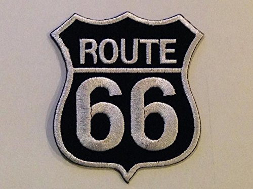 ROUTE 66 Biker size7x 8cm. Goth Punk Emo Rock DIY heavy metal Logo Jacket Vest shirt hat blanket backpack T shirt Patches Embroidered Appliques Symbol Badge Cloth Sign Costume Gift