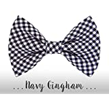 Navy Blue Gingham Dog Bow Tie; Plaid Dog Collar BowTie: Navy Gingham BOW TIE ONLY