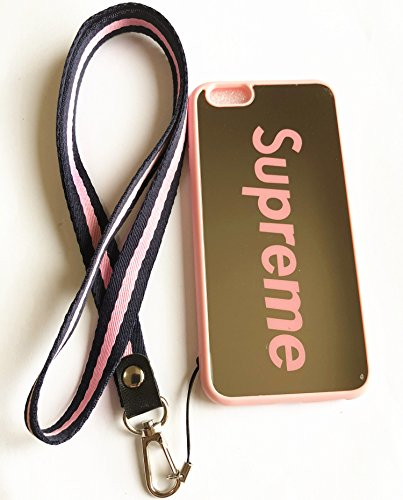 Cover Neck Supreme (iPhone 6 and 6S Case,Wellfun Reflective Mirror Case Supreme Cover with Soft Neck Lanyard.Shockproof Resistant Case for iPhone 6 and 6S Case 4.7 inch. (Pink))