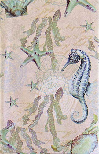 Seahorses, Starfish, Scallops and Crabs Vinyl Flannel Back Tablecloth (60