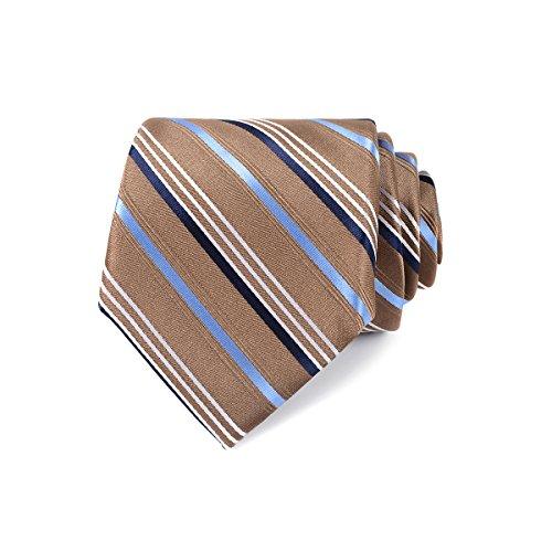 LUISDAN Mens Stripe Formal Tie Silk Woven Business Necktie + Gift Box (Khaki ()