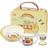 Queens Little Rhymes Noah'S Ark 3PC Porringer Egg Cup Mug Set Gift Box, Fine China, Multi-Colour, 20 x 20 x 6.5 cm