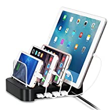 4 Ports USB Charging Station Universal Detachable Multi-port Desktop Charge Dock Stand Multiple Devices USB Charging Station Organizer Quick Charger for iPhone iPad Samsung LG Tablet PC (Black)