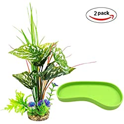 MONITA 2-Pack Plastic Terrarium Plant and Foot Shaped Water Dish for Reptiles and Amphibians