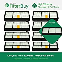 8 - iRobot Roomba 800 900 Series AeroForce Filters. Designed by FilterBuy to replace iRobot Roomba 800 & 900 Series AeroForce Vacuum Filters