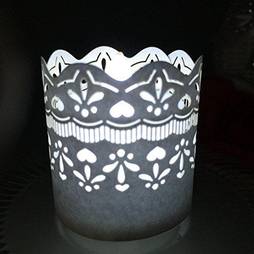 (CozyT 100 PACK Lacework Tea Light Votive Wraps Paper Candle Holder Laser Cut For Decorative Wedding Party)