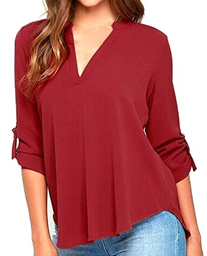 Ming ditian Popular Womens Plus Size V-neck 3/4 Sleeve Chiffon Blouse Tee Wine red XL Wine RedUS X-Large