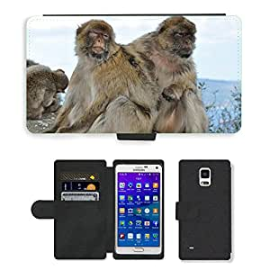 PU LEATHER case coque housse smartphone Flip bag Cover protection // M00135592 Mono Magot Animal Mamífero Naturaleza // Samsung Galaxy Note 4 IV