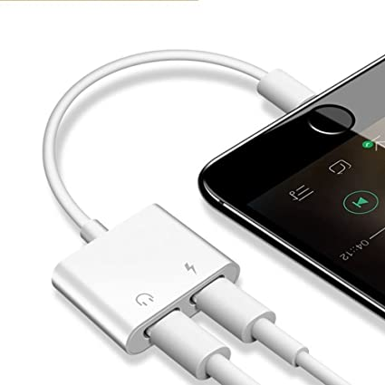 Headphone Adaptor 2 in 1 Charger Compatible with iPhone X,iPhone 8,iPhone 8 Plus,iPhone 7 iPhone 7 Plus Earphone Adapter Headphone Audio & Charge ...