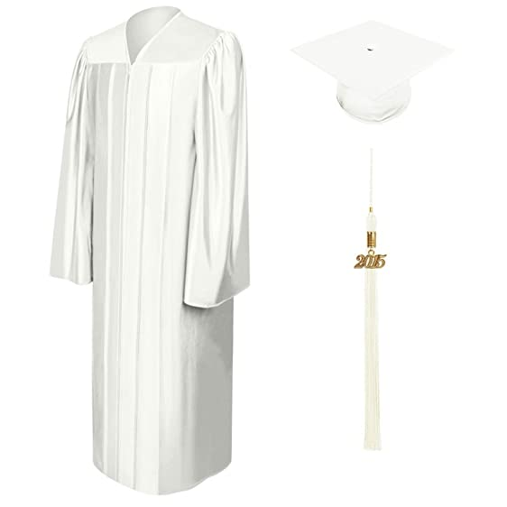 Amazon.com: White Cap & Gown & Tassel Package - Shiny Fabric, All ...