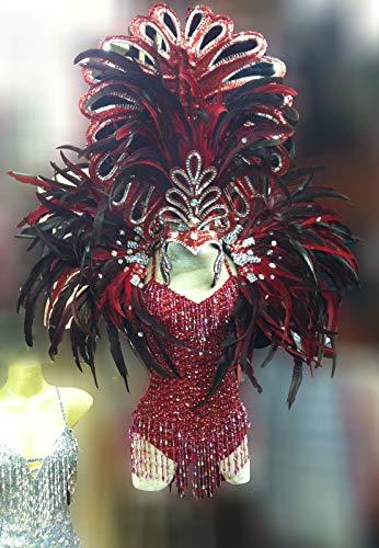 (Da NeeNaC065 Vegas Showgirl Burlesque Feather Headdress Backpack Costume Set)
