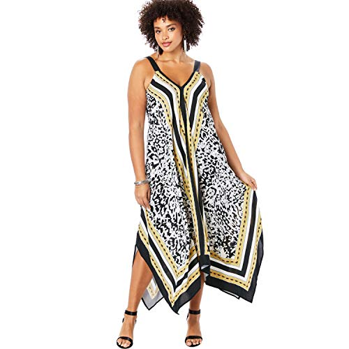 - Roamans Women's Plus Size Scarf-Print Maxi Dress with Handkerchief Hem - Animal Ethnic Border, 14/16