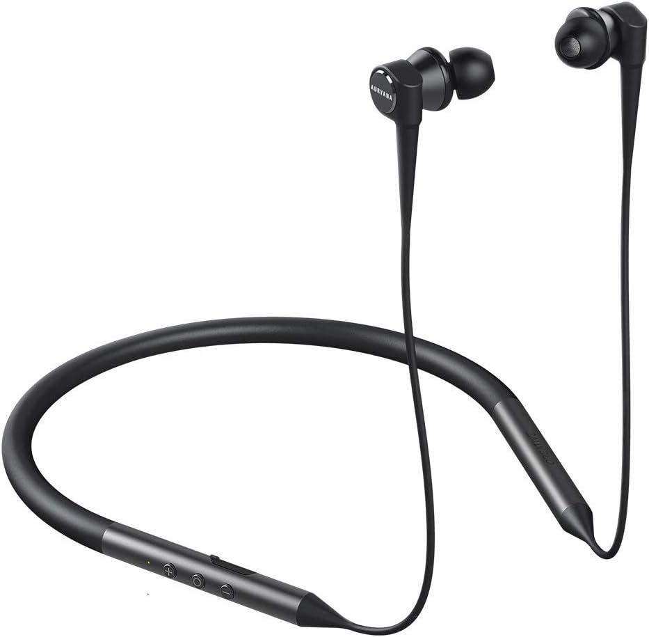 Creative Aurvana Trio Wireless: Cascos con sujeción por detrás del Cuello y Triple Driver, Bluetooth 5.0, aptX HD, aptX LL y AAC, Aislamiento del Ruido con Micro, hasta 20 Horas de reproducción