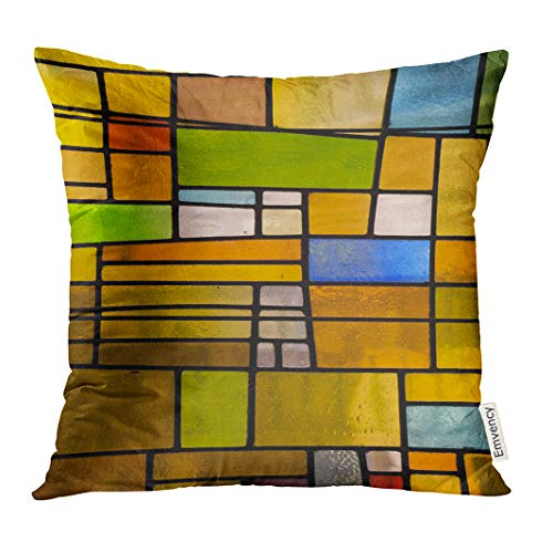 UPOOS Throw Pillow Cover Green Color Multicolored Stained Glass Church Window Portrait Orientation Orange Mosaic Black Decorative Pillow Case Home Decor Square 16x16 Inches Pillowcase