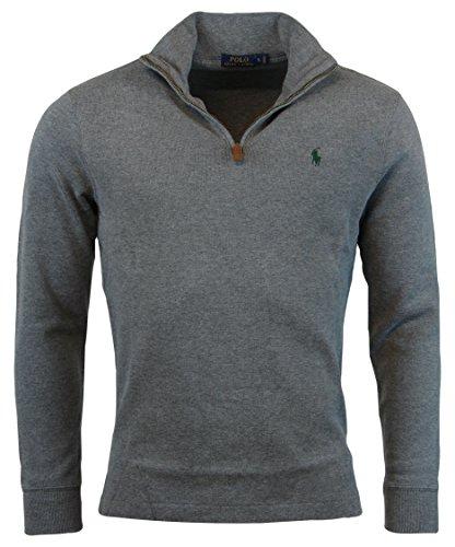 Polo Ralph Lauren Mens Half Zip French Rib Cotton Sweater - L - Coal Heather -