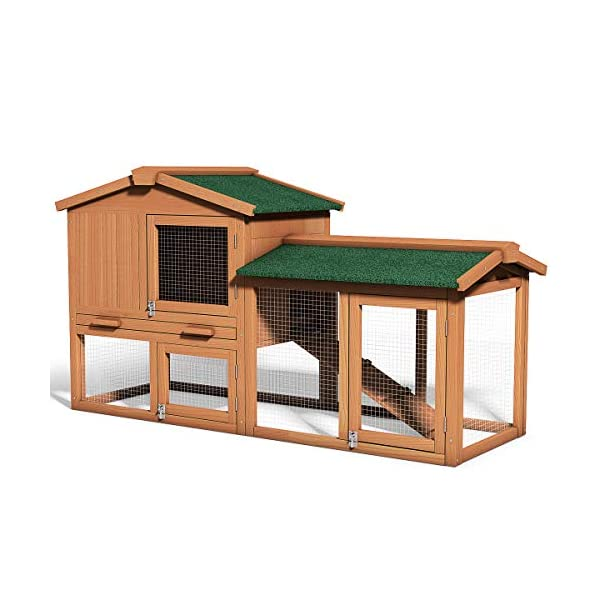 Tangkula Chicken Coop, Wooden Large Outdoor Poultry Cage (Such as Bunny/Rabbit/Hen) with Ventilation Door and Removable Tray & Ramp, 58'' Chicken Rabbit Hutch 1