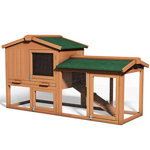 (Tangkula Large Chicken Coop, Wooden Hen House Outdoor Backyard Garden Bunny Rabbit Hutch with Ventilation Door, Removable Tray & Ramp Chicken Nesting Box (58'') (Wood Color + Green roof))