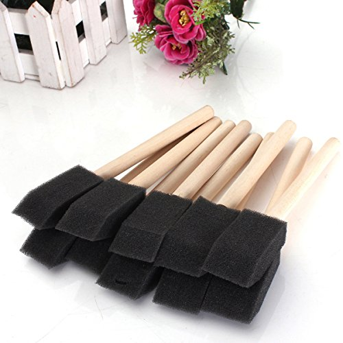 Pink Lizard 20 PCS Foam Sponge Wooden Handle Painting Drawing Brushes by Pink Lizard Products