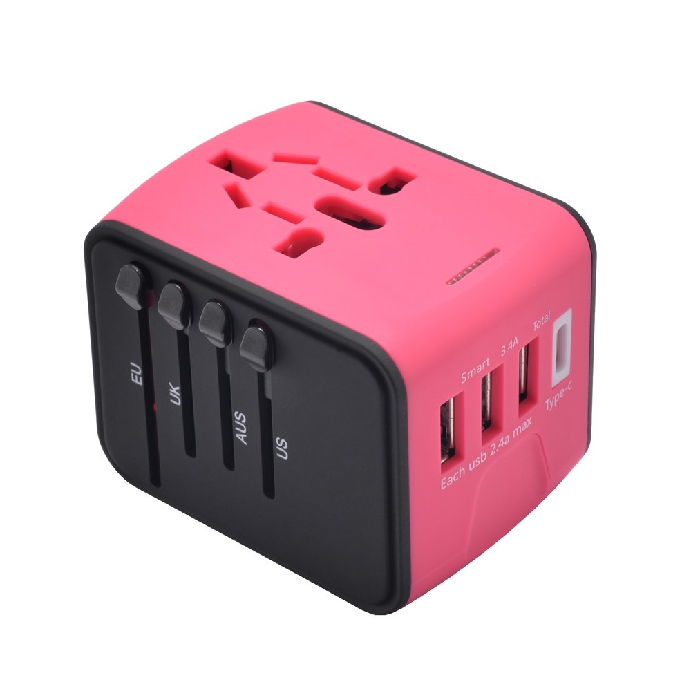 International Power Adapter With 2.4A USB and 3.0A USB Type-C for UK, US, AU, Europe& Asia-Over 150+ Countries All in One Plug Adapter USB Power Adapter for iPhone, Android, All USB Devices(Red)