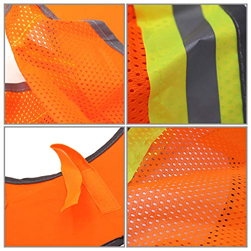 2 Pack Hard Hat Sun Neck Shield Full Brim Sunshade for Hard Hats- High Visibility, Reflective, Full Brim Mesh Sun Shade Protector (Hard Hat Not Included) (Orange) by Erlvery DaMain (Image #4)