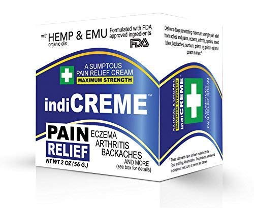 IndiCreme Pain Relief Cream with Hemp Seed Oil for Back Pain, Knee Pain, Joint Pain, Eczema and Sunburn