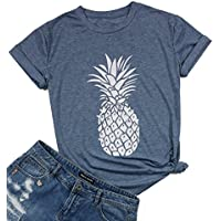 DUTUT Pineapple Printed Funny T Shirt Women's Summer Fruits Lover Casual Short Sleeve Tops Blouse