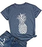DUTUT-Pineapple-Printed-Funny-T-Shirt-Womens-Summer-Fruits-Lover-Casual-Short-Sleeve-Tops-Blouse