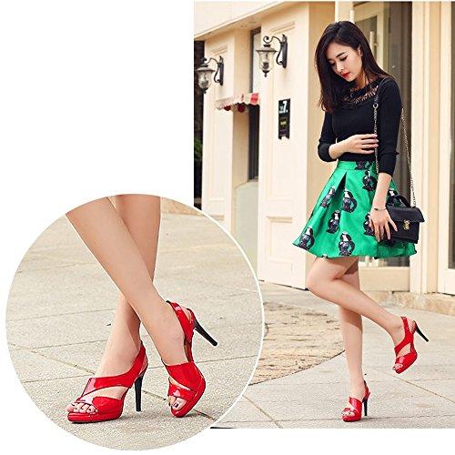 Plate forme 9 5cm Mode Rouge Spartiates Uk3 Chaussures Imperméable Haut Bouche Femmes Ouvert Talon Sandales Rose D'été De couleur Noir Taille Rouge Bout Eu35 Zhirong Rose Cn34 De Poisson xqwITUHXA