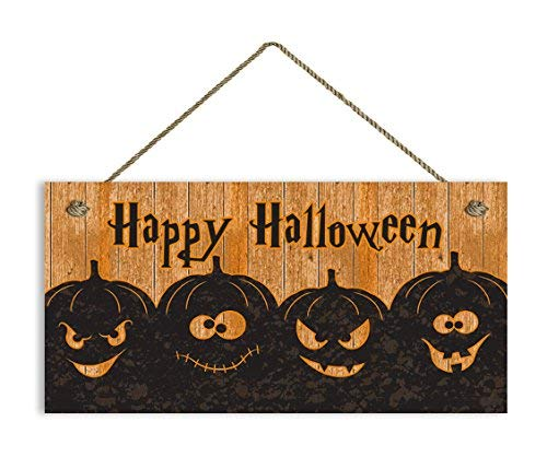Funlaugh Happy Halloween Sign Rustic Spooky Pumpkin Halloween Sign 5 x 10 Spooky Door Sign Halloween Party Decor Bedroom Wood Sign with Sayings Home Decor Plaque Sign -