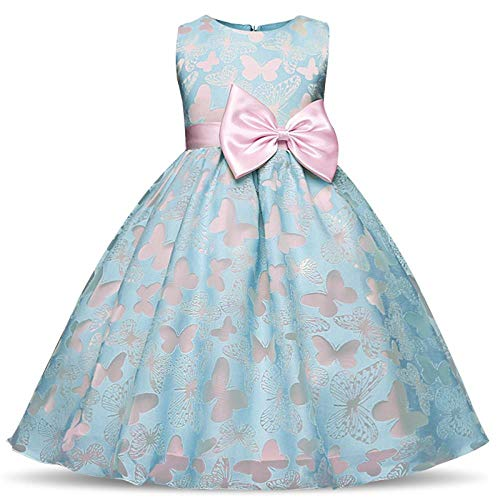 - Children's Performing Dresses Amazon Blossom Children's Dresses Printed Sleeveless Princess Skirt Children's Performing, Blue, 140