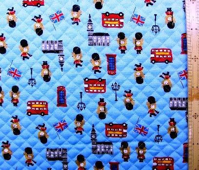 <プリント・キルティング生地>ロンドン ベア(ブルー) (イギリス 国旗 兵隊 クマ くま 熊 ベアー かわいい おしゃれ 男の子 女の子 子供 入園 入学 ピロル)の商品画像
