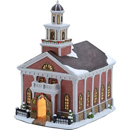 amazon com 11 25 victorian church christmas village, holiday time11 25 victorian church christmas village , holiday time by holiday time