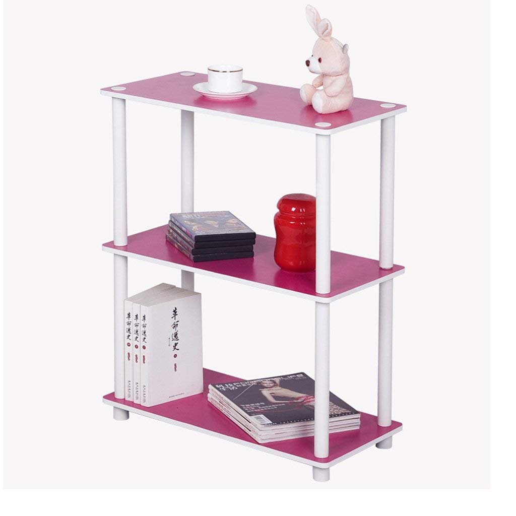 YCT 3階建てのコンパクト多目的棚ディスプレイ、ブラウン/ピンク棚 (Color : ピンク) B07TCRWWMC ピンク