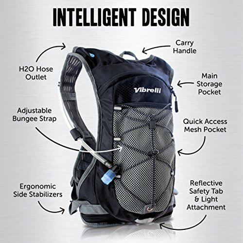 Vibrelli Hydration Pack & 2L Hydration Bladder - High Flow Bite Valve Hydration Backpack with Anti-Microbial Technology by Vibrelli (Image #1)