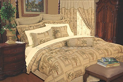 9 Piece Cal King Tapestry Palm Bedding Comforter (Euro Tropical Comforter)