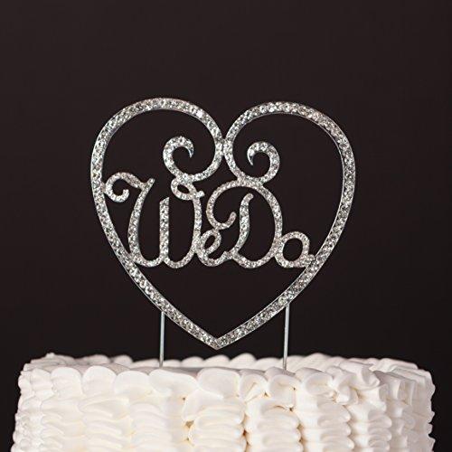 We Do Heart Wedding Cake Topper Silver Crystal Rhinestone Decoration  (Silver)