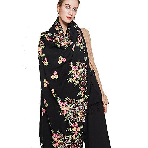 DANA XU Embroidery 100% Pure Wool Pashmina Shawls and Wraps (Black) by DANA XU (Image #7)