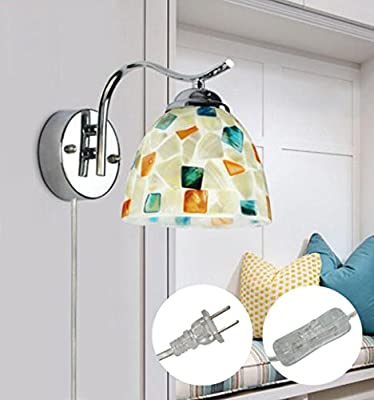 STGLIGHTING Colorful Mosaic Art Wall Sconces Simple Modern Wall Lamp For Bedroom UL Plug-In Button Cord Bulbs Not Included