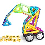 VCANNY Magnetic Blocks, Magnetic Tiles for Kids, Magnetic Building Blocks Set for Boys and Girls, Magnet Tiles Educational Magnetic Toys for Toddlers (118 Piece)