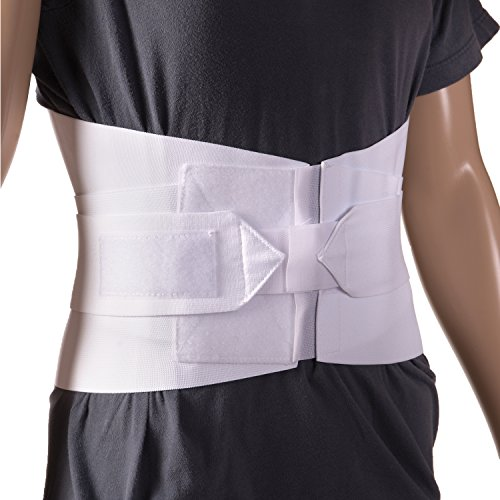 DMI Adjustable Lumbar Support Back Brace with Removable Stays, Large 36 to 42, White - Lumbar Sacral Brace