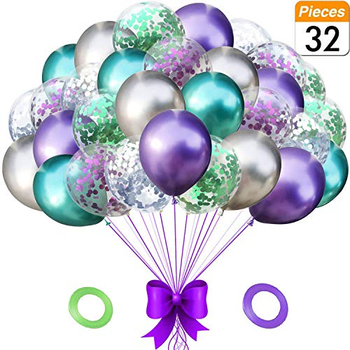 Mermaid Party Balloons Birthday Decorations Pack of 32 - Green and Purple Metallic Balloons with Glitter Confetti Clear Sparkle Decorations