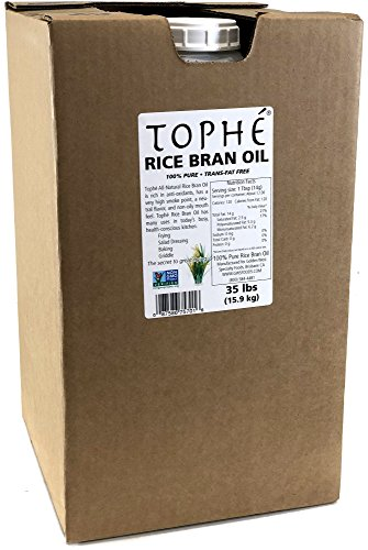 RICE BRAN OIL | All Natural, Made from 100% Non GMO Rice | Perfect for Frying | Rich in Vitamin E and Gamma-Oryzanol | Unfiltered, Non Winterized, No Trans Fat and Heart Healthy | 35 Pounds By Tophé