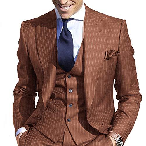 - JYDress Men's Pinstripe Suit Slim Fit Stripe Peaked Lapel Jacket Vest Pants Sets Reddish Brown