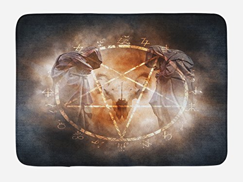 Pentagram Magic (Lunarable Horror House Bath Mat, Pentagram in Flames Black Magic Ceremony Ritual Lucifer Demonic Occult Skull, Plush Bathroom Decor Mat with Non Slip Backing, 29.5 W X 17.5 W Inches, Gray Orange)
