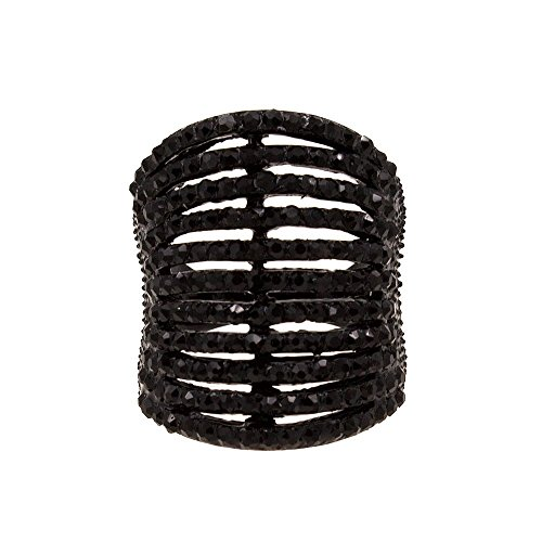 Lavencious 11 Rows Ring Fashion Crystal Cocktail Wedding Party Jewelry for Women (Jet Black, 5) ()
